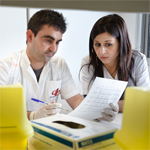 Colleagues working in lab